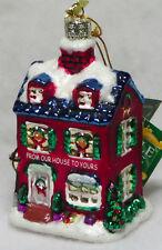 """Noble Gems 4.5"""" Winter House Hand Blown Glass Christmas Ornament Kurt S. Adler"""