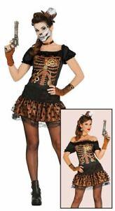 Womens Retro Steampunk Costume Skeleton Halloween Fancy Dress Ladies Outfit