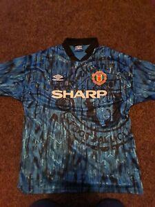 Manchester United Away Shirt 1992. Large Original Umbro. Blue Adults Man Utd Top