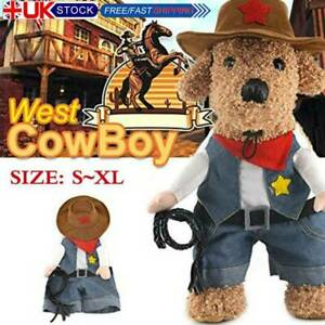 UK Pet Costume Clothes Cowboy Cosplay Dog Cat Halloween Xmas Fancy Dress Apparel