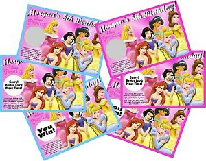 DISNEY PRINCESS SCRATCH OFF PARTY GAMES CARDS BIRTHDAY FAVORS SCRATCH OFFS GAME