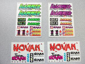 4 Vintage team Novak Esc Sticker Sheets  Rare RC Equipment
