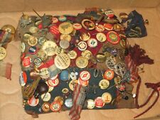 Antique Pins Buttons Political Collection Lot Pennant Flag Jewelry & More (S363)