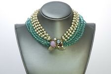 Miriam Haskell 1950's Pearl Glass Beads Choker Necklace