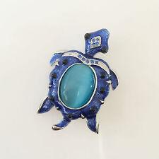 New Blue Sea Ocean Marine Long Life Lake Turtle Crystal Brooch Pin BR1159A Gift