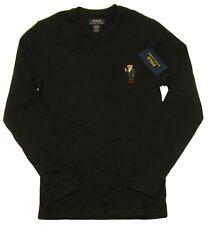 Polo Ralph Lauren Men's Black Martini Bear Waffle Knit Thermal Long Sleeve Shirt