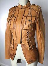 OLD GRINGO Brown Tan Corset Zip Up Peplum Leather Moto Jacket XS Western Fringe