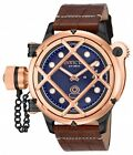 New Men's Invicta 16360 Russian Diver Swiss Mechanical Blue Dial Leather Watch