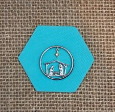 Authentic Origami Owl Large Silver Nativity Manger Window Plate - NEW