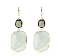 14K Yellow Gold Gemstone Earrings With Mother Of Pearl and Smoky Topaz