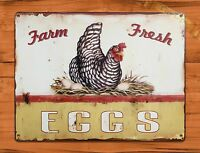 TIN SIGN Farm Fresh Eggs Dairy Rooster Chicken Decor Farm Barn Coop