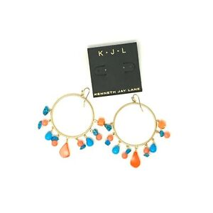 Kenneth Jay Lane Hoop Earrings 22K Gold Plated Turquoise Coral $90 MSRP FS