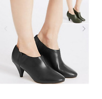 M&S COLLECTION Wide Fit Leather Cone Heel Shoe Boots with Insolia