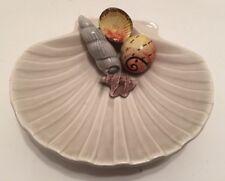 "Vtg Fitz & Floyd Sea Shell Dish 5.75"" Ceramic Scallop & Shells Soapdish Trinkets"