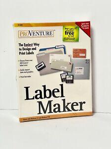 ProVenture ® Label Maker For Windows 3.1 & 95 - NEW  SEALED 1998 CD-ROM