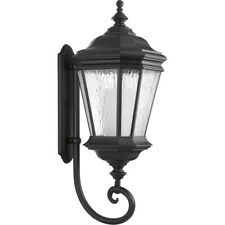"NEW PROGRESS LIGHTING CRAWFORD OUTDOOR BLACK WALL LANTERN 32.9"" P6633-31"