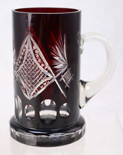 Antique Czech Bohemian Ruby Red Cut to Clear Glass Stein Tankard Mug L8A