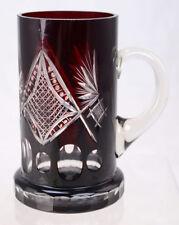 Antique Czech Bohemian Ruby Red Cut to Clear Glass Stein Tankard Mug L8A