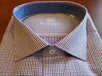NWT Bugatchi Men's Long Sleeve Pink White Shaped Fit Dress Shirt 18 36/37