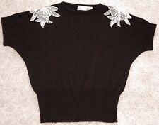 Vintage Batwing Women's Sweater Black Silver Sequin Shoulder Accents Medium 90's