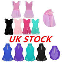 UK Girls Skating Dress Ballet Jazz Gym Sequined Skirts Kids Dancewear Costumes