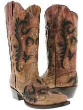 Womens Pink Inlay Western Cowgirl Boots Distressed Leather Snip Toe