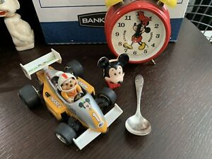 VTG Walt Disney Mickey Mouse Race Car Masudaya Nite Lite German Alarm Clock Spn