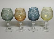 Cordial Aperitif Liqueur Glasses Multi Color Cut to Clear Set of 4