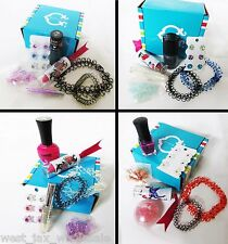 Pre Filled 7 Piece Party Bags Grab Box Girls Nail Polish Hair Clips Lot of 10