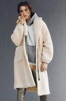 Free People Coat Sherpa Faux Oversized Plush Longline Tessa Teddy Ivory L NWT