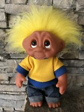 """Troll Doll By Dam! 1990 Yellow Hair Brown Eyes! Outfit! Posable! 8""""!"""