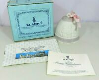 Lladro 1987 Bisque Porcelain Christmas Bell Ornament Embossed Paperwork & Box