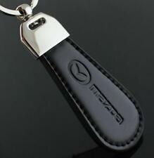 LG112 Black PU Leather Drop Keyring For Mazda Car Logo Key Ring Keychain Gift