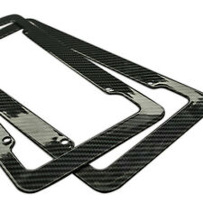 Plastic Carbon Fiber Style License Plate Frames Front & Rear Braket 2pc Set