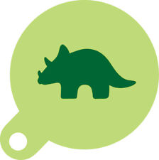 Triceratops Cookie Cupcake Stencil 7cm Diameter Food Safe Washable and Reusable