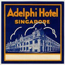 Adelphi Hotel SINGAPORE Singapur * Old Luggage Label Kofferaufkleber