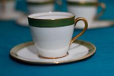 ART DECO 1930's ROYAL DOULTON ENGLAND GREEN FOUR (4) COFFEE CUP SET  Marshal