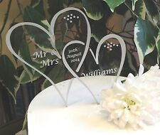 Two heart modern look personalised wedding cake toppers