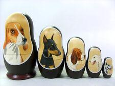 "Russian 5.5"" Nesting Doll Dog Dogs 5 Pc Matryoshka Beagle Doberman Borzoi Hound"