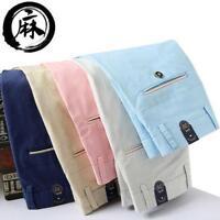 Men linen blend breathable straight casual pants colors trousers size 28-38 W285