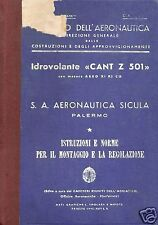 CANT Z.501 Italian Flying Boat Historic Maintenance Manual rare detail 1930's