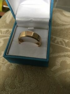 New Men's flat top 10ct 7mm Solid Yellow Gold Size V Wedding Ring