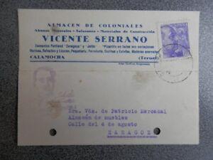 TARJETA PUBLICITARIA CALAMOCHA TERUEL COLONIALES VICENTE SERRANO PATRIOTICA 1940