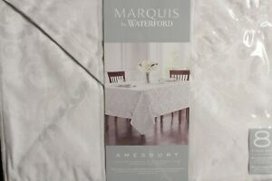 Marquis by Waterford Placemats and Napkin 8 PC Set Amesbury White Damask NEW