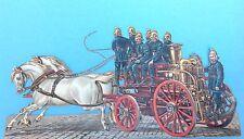 1v2: Feuerwehr Pferdewagen Dampfdruckspritze geprägte gestanzte Oblate 28cm~1860