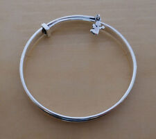 Adjustable Child Baby's Sterling Silver Little Angel Christening Bangle Bracelet