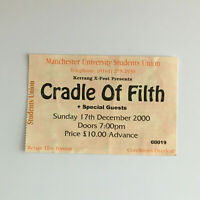 Cradle of Filth - 17/12/2000 Manchester University concert Ticket Stub