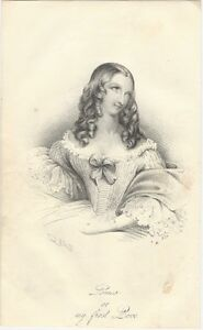 """1842 Lithograph: """"Louisa, or, my first Love"""", Attractive Young Woman with Curls"""
