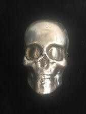 """3 Oz MK BarZ """"Smiling Skull"""" 3D Skull Hand Poured .999 Fine Silver"""
