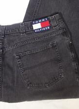 TOMMY HILFIGER  Jeans Black Color Block Logo Spellout  43 X 28 Vintage HIP HOP